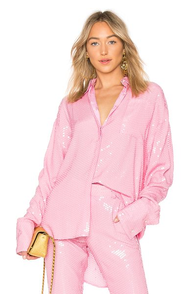 MSGM Sequin Top in pink - 100% viscose. Dry clean only. Front button closure....