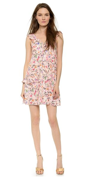 MSGM Sleeveless ruffle dress in pink - Ruffles and a bright floral print bring feminine...