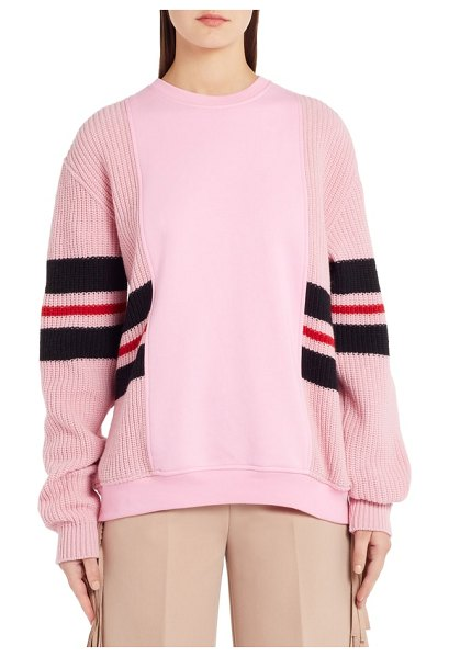 MSGM stripe mixed media sweater in knit pink/ line red/ black - Sweatshirt-like panels at the bodice inject a sporty,...
