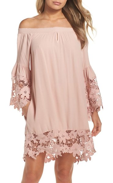 Muche et Muchette jolie lace accent cover-up dress in blush - Elastic smocking keeps the comely off-the-shoulder...
