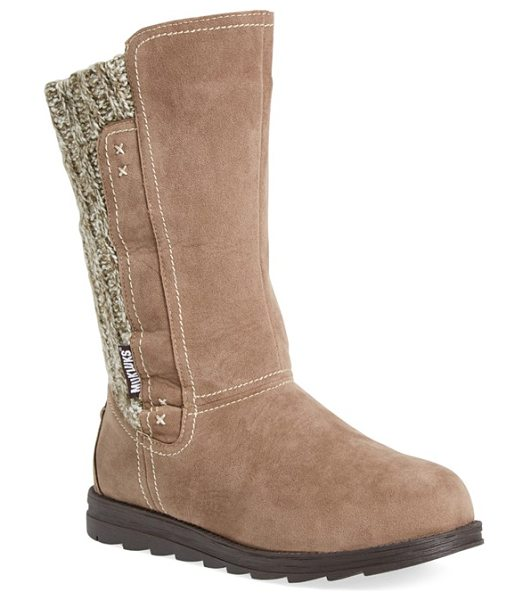 Muk Luks stacy water resistant sweater knit boot in light brown faux suede - Decorative topstitching dots the shaft of a faux-suede...