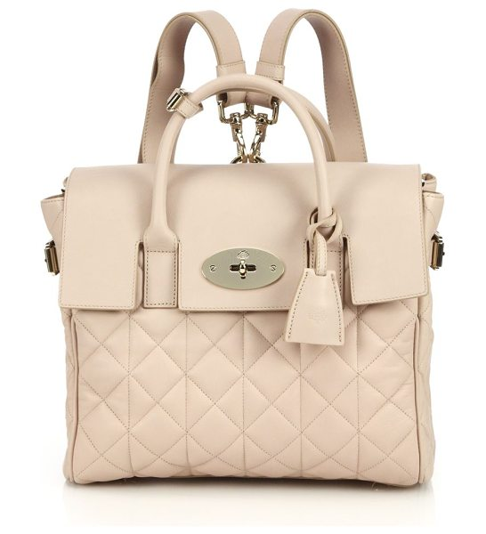 Mulberry Cara delevingne convertible quilted leather satchel in oatmeal - EXCLUSIVELY AT SAKS IN OATMEAL. Influenced by Cara...