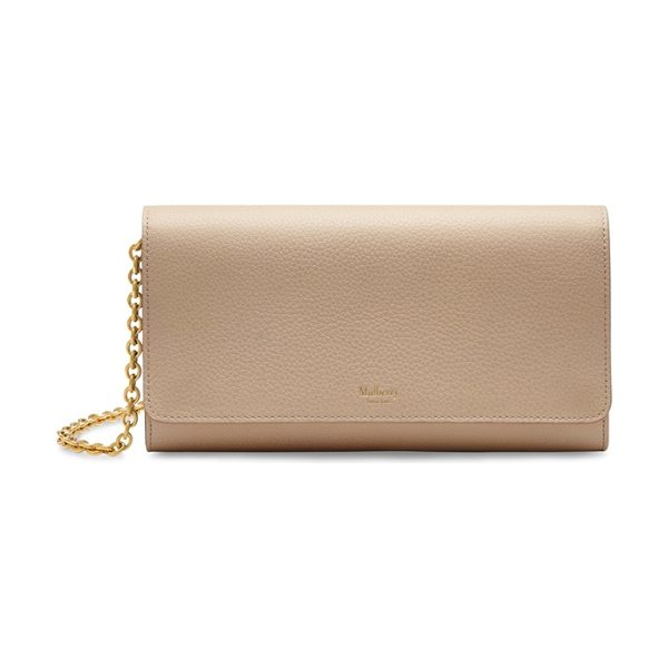 MULBERRY Continental - A sleek pebbled-leather clutch comes fitted with a...