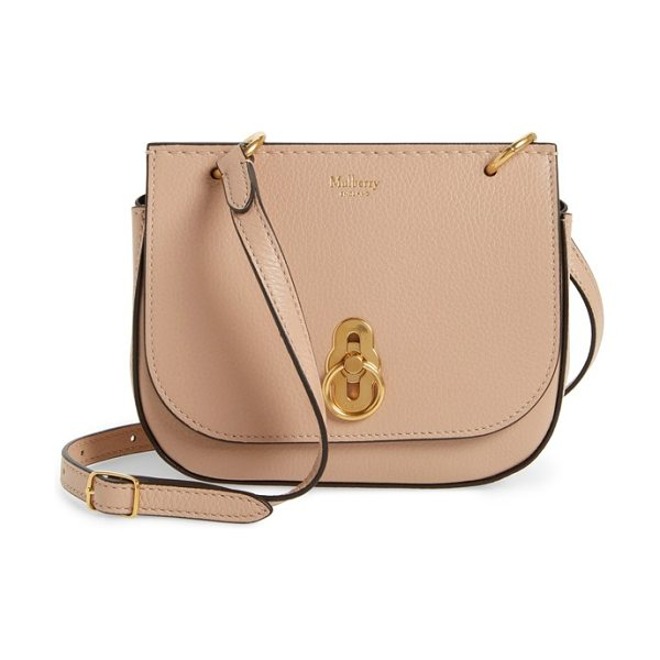 Mulberry mini amberley calfskin leather crossbody bag in beige