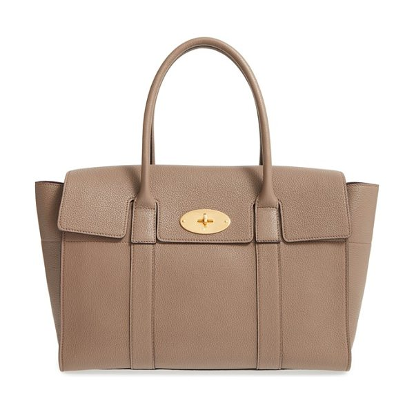 MULBERRY 'new bayswater classic' leather satchel in clay - A beautifully structured pebbled-leather bag features...