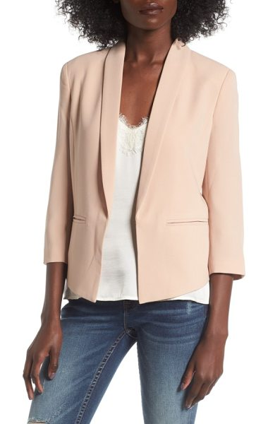 Mural 'curve' open front shawl collar blazer in nude - Made from nicely weighted crepe, this smartly styled...