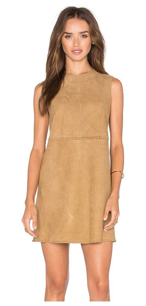 MUUBAA Emden shift dress in tan - 100% goat suede. Professional leather clean only....