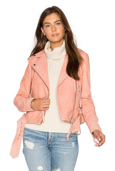 MUUBAA Holmedale Biker Jacket in rose - Self: 100% lamb leatherBody lining: 100% viscoseSleeve...