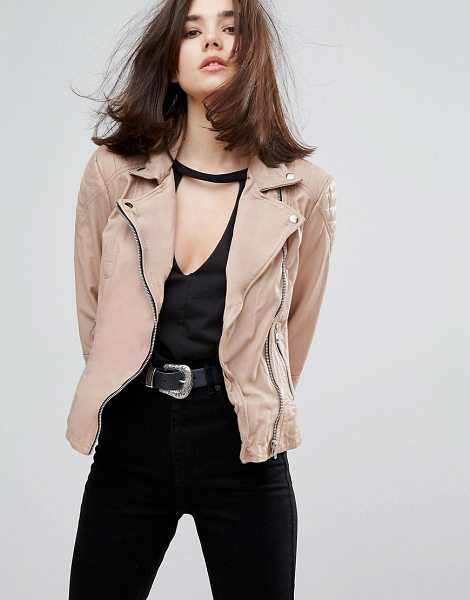MUUBAA Indus Leather Biker Jacket in brown - Biker jacket by Muubaa, Soft-touch leather outer, Fully...