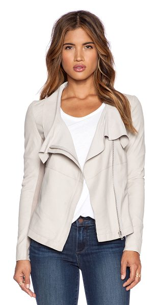 MUUBAA Louis drape jacket in beige - 100% goat leather. Professional leather clean only....