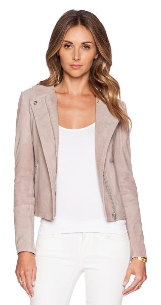 MUUBAA Ronq collar biker jacket in beige - Shell: 100% goat suedeLining: 100% poly taffeta. Leather...