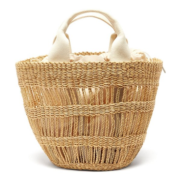 MUUÑ lint woven-straw tote bag in beige