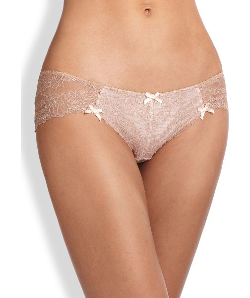 Myla London Nicole lace hipster in blush - This sheer lace style is accented with delicate bows for...