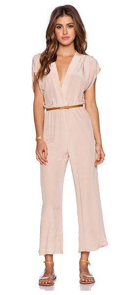 MYNE Heidi jumpsuit in blush - 100% silk. Dry clean only. Surplice neckline. Belted...