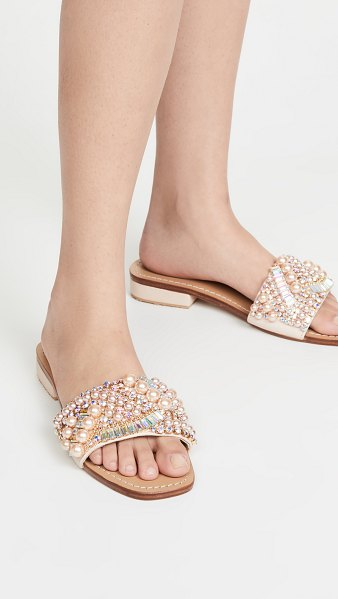 MYSTIQUE crystal and pearl slides in pale pink/pearl