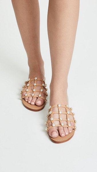 MYSTIQUE imitation pearl cage slides in beige/pearl