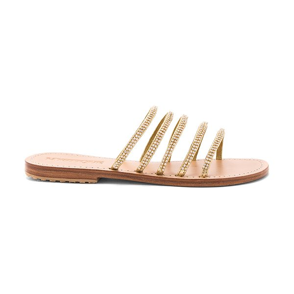 MYSTIQUE Strap Sandal in metallic gold - Leather upper and sole. Slip-on styling. Crystal...