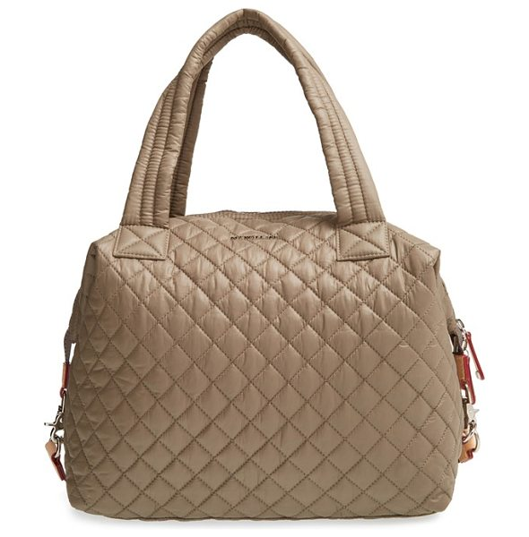 MZ Wallace Large sutton quilted oxford nylon satchel in clay - Lightweight quilted nylon comprises a slouchy satchel...