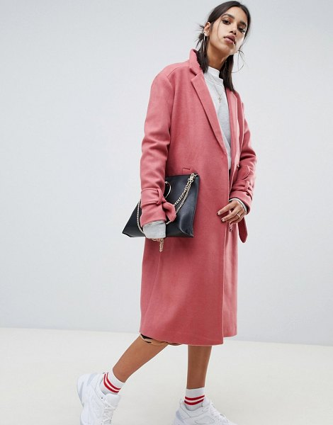 NA-KD tie sleeve tailored coat in pink in pink