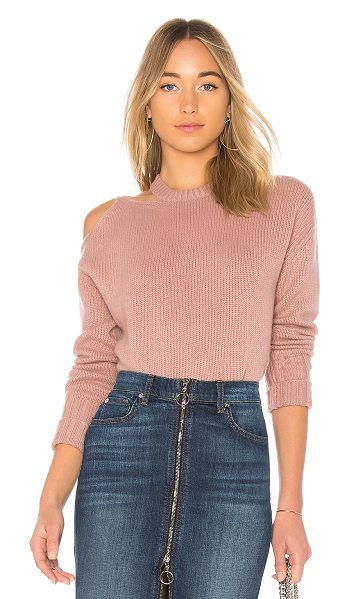 NAADAM Cut Out Cashmere Pullover in mauve - 100% cashmere. Hand wash cold. Shoulder cut-out. Rib...