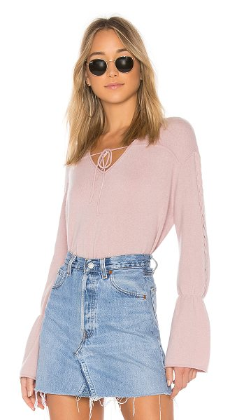 NAADAM V Neck Cropped Cashmere Sweater in pink - 100% cashmere. Hand wash cold. Knit fabric. Front tie...