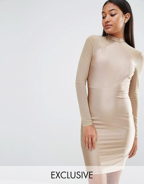 "NaaNaa Bodycon Dress With Mesh Sleeves in brown - """"Bodycon dress by NaaNaa, Silky-feel fabric, Mesh..."