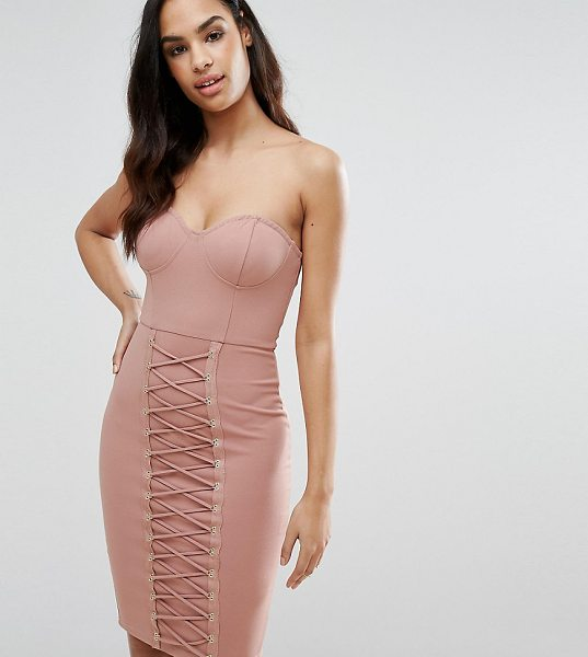 "NAANAA Corset Midi Dress with Lace Up Panelling - """"Dress by NaaNaa, Smooth stretch fabric, Structured..."