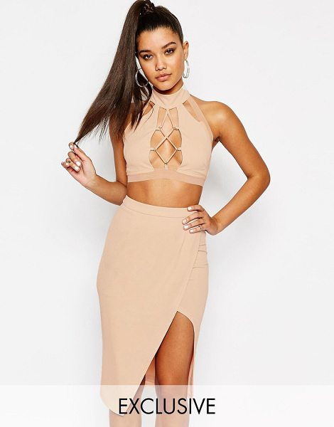 NaaNaa Lace Up Front High Neck Crop Top in beige - Top by NaaNaa, Stretch jersey fabric, Halterneck,...