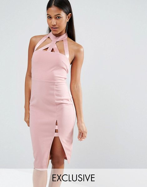 NaaNaa Midi Pencil Dress With Strap Detail in pink - Dress by NaaNaa, Stretch knitted fabric, Halter...