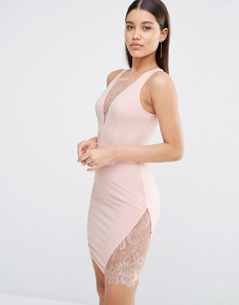 NaaNaa Plunge Mini Dress With Lace Insert in pink - Dress by NaaNaa, Stretch fabric, Plunge V-neckline, Lace...