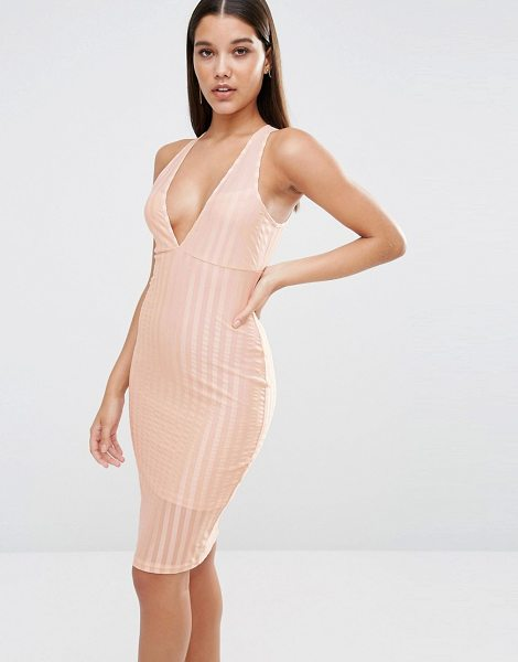 "NaaNaa Plunge Neck Bodycon Midi Dress In Satin Sheer Stripe in beige - """"Bodycon dress by NaaNaa, Striped mesh and satin, Soft..."