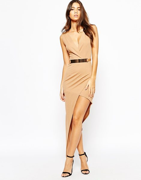 NaaNaa Plunge neck sleeveless belted pencil dress with asymmetric wrap skirt in tan - Pencil dress by NaaNaa Lightly textured stretch fabric...