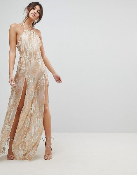 NaaNaa sequin maxi dress with double thigh split in gold