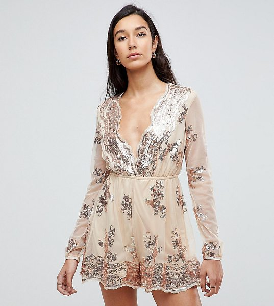 NaaNaa Tall Sequin Plunge Romper in gold - Tall romper by NaaNaa, Sequin-embellished mesh, Partial...