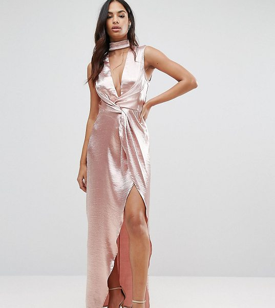 NaaNaa Wrap Front Maxi Dress in Hammered Satin in pink