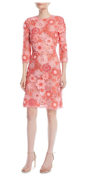 Naeem Khan 3/4-Sleeve Floral Lace-Guipure Sheath Dress in medium pink - Naeem Khan lace dress with floral appliques. Jewel...