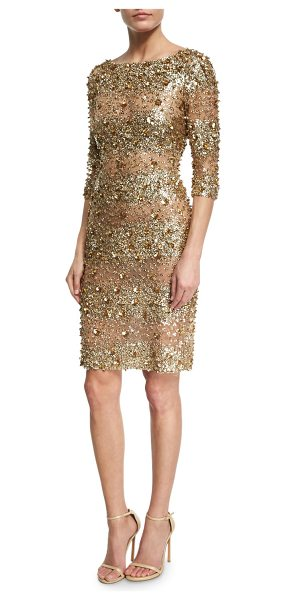NAEEM KHAN Beaded 3/4-Sleeve Fitted Cocktail Dress - Naeem Khan cocktail dress with allover mixed beading....