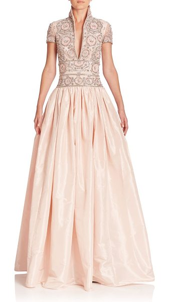Naeem Khan beaded taffeta gown in pale pink - Intricate beaded highlights this dramatic taffeta gown....