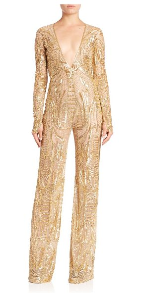 Naeem Khan beaded v-neck jumpsuit in gold - Sleek one-piece with evening-ready beaded...