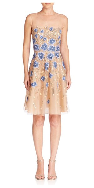 NAEEM KHAN floral applique dress - Floral appliques adorn this fit-and-flare design....