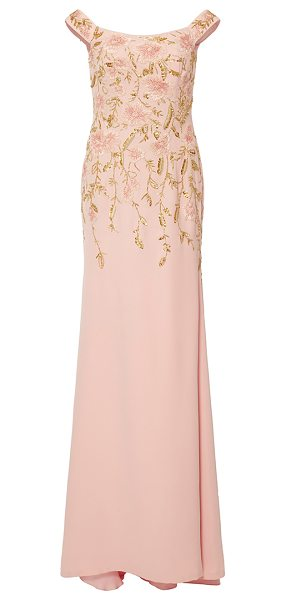 Naeem Khan Off the Shoulder Floral Embroidered Gown in pink