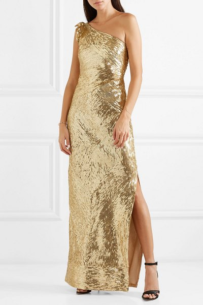 Naeem Khan one-shoulder sequined tulle gown in gold