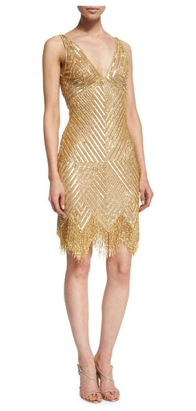 NAEEM KHAN Sleeveless V-Neck Beaded Fringe Dress - Naeem Khan chevron-beaded tulle dress. Available in...