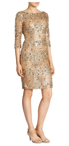 Naeem Khan three-quarter sleeve dress in gold - Three-quarter sleeve dress in a shimmering beaded...