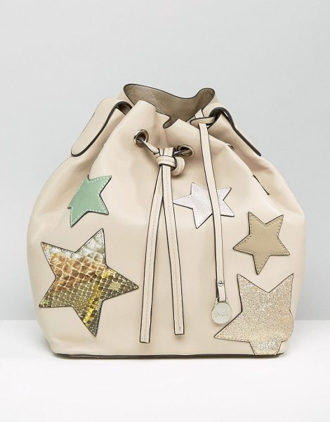 Nali Beige Star Bucket Bag in beige - Cart by Nali, Faux-leather fabric, Drawstring fastening,...