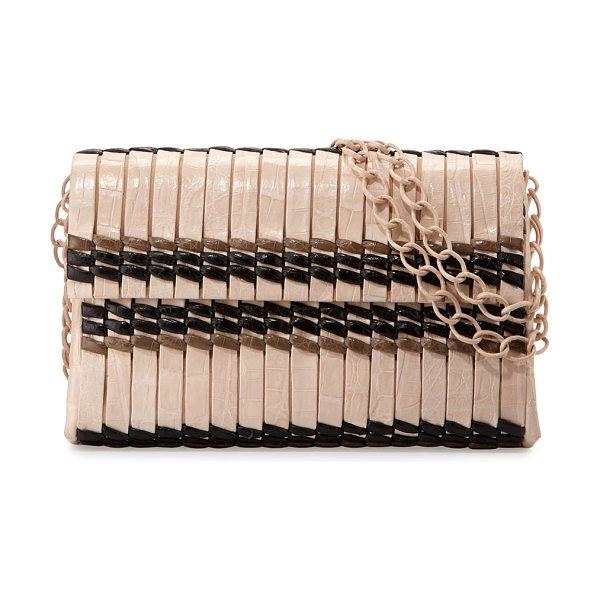 Nancy Gonzalez Bamboo Woven Crocodile Shoulder Bag in blush