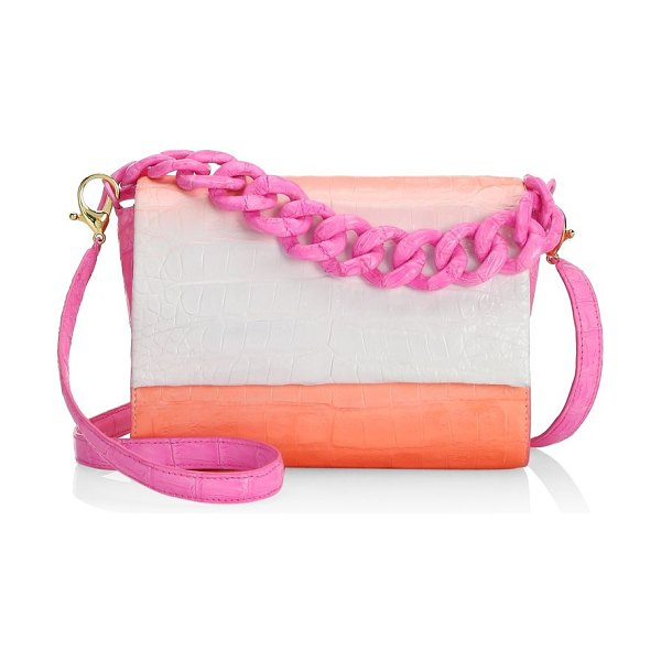 Nancy Gonzalez carrie ombre crocodile clutch in pink - This crocodile leather bag flaunts an ombre finish and...