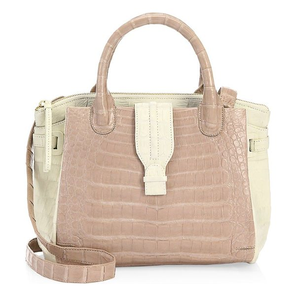 Nancy Gonzalez cristina leather satchel in taupe - Crocodile-embossed leather satchel with colorblocked...