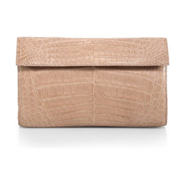 Nancy Gonzalez crocodile clutch in nude - A glossy finish on this exotic crocodile clutch exudes...