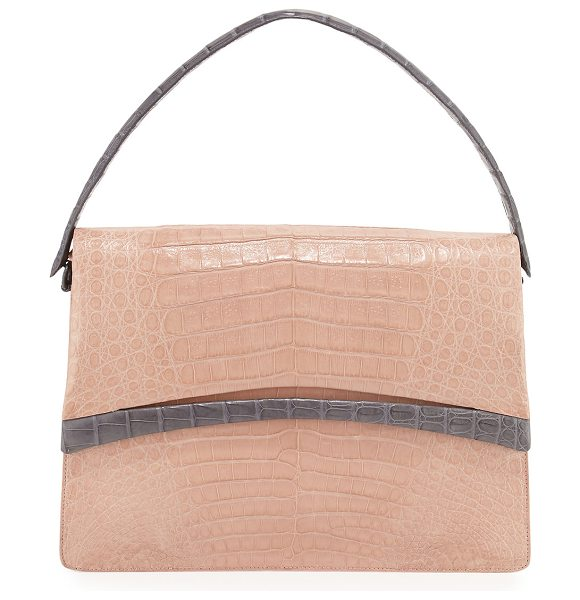 Nancy Gonzalez Crocodile Flap Shoulder Bag in nude/grey - Nancy Gonzalez shoulder bag in signature Caiman...